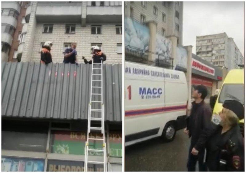 Двухлетняя девочка упала с пятого этажа на крышу магазина