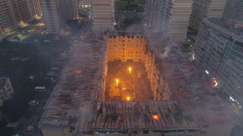 Почти 60 квартир сгорело в краснодарской многоэтажке