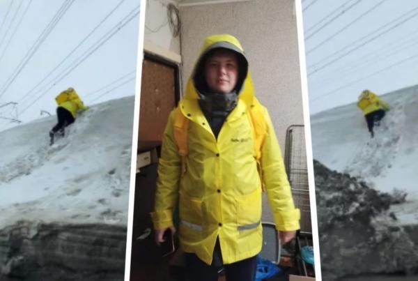 Покоривший снежную гору знаменитый новосибирский курьер таким образом зарабатывает на учебу в вузе