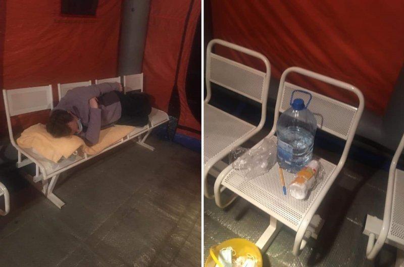 «Сидели в жаре несколько часов»: пациентов с подозрением на COVID-19 оставили в палатке без еды и воды
