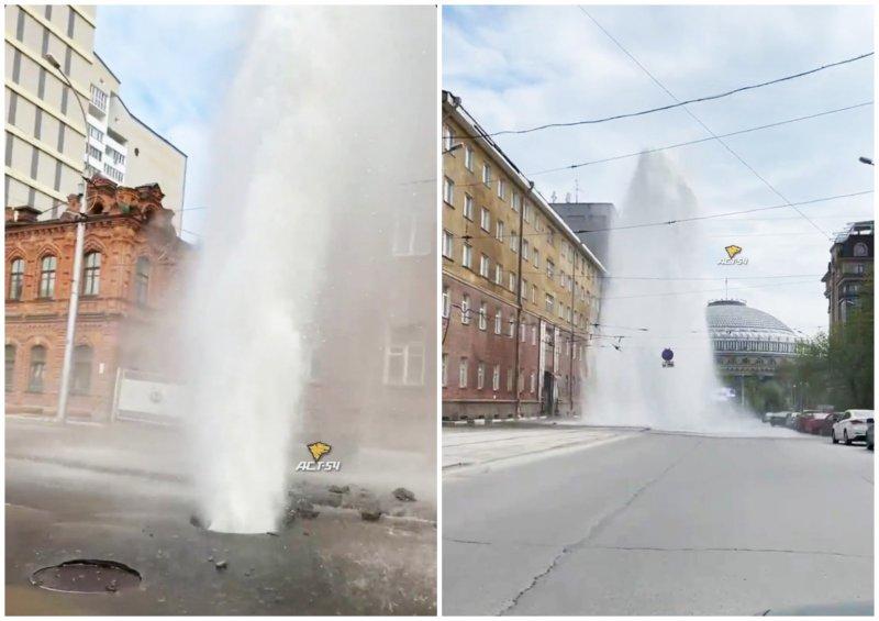 Новый фонтан пробился сквозь землю возле Оперного